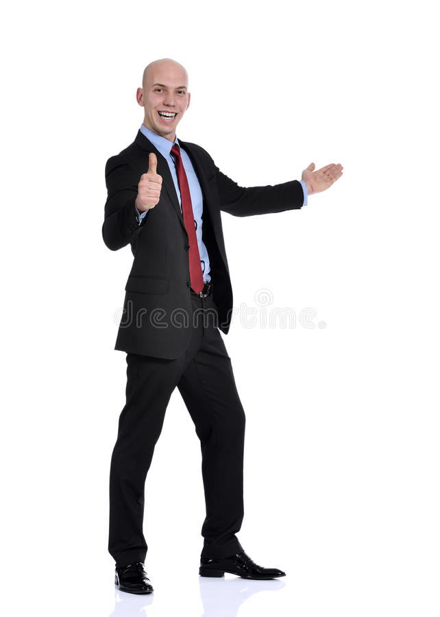 Technology Management Image: Business Man Holding Hand Out In A Welcome Gesture Stock