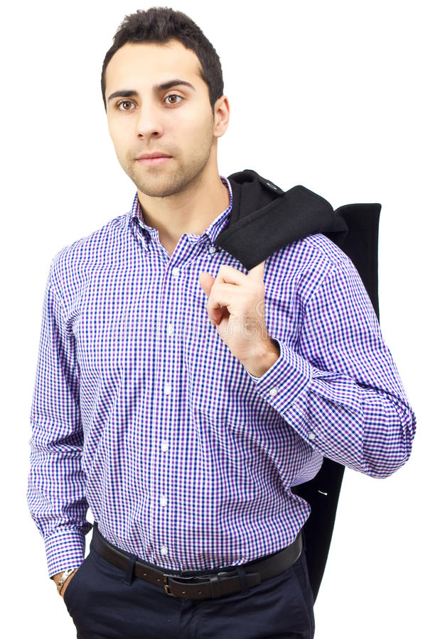 Business man holding his coat over shoulder stock photo