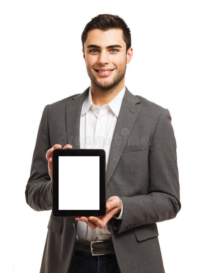 Business Man Holding His Tablet Stock Photo