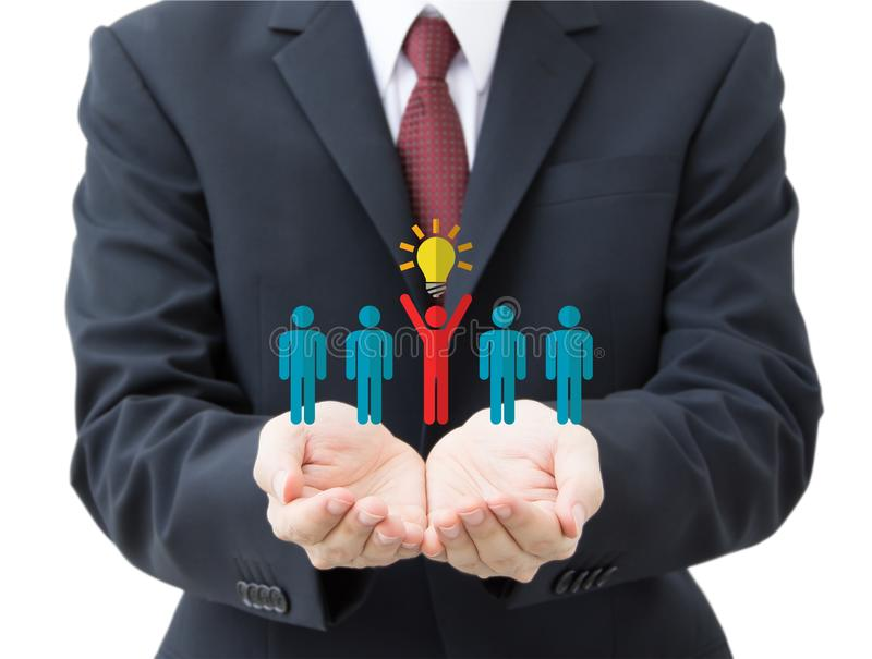 Business man holding human resource icons royalty free stock image