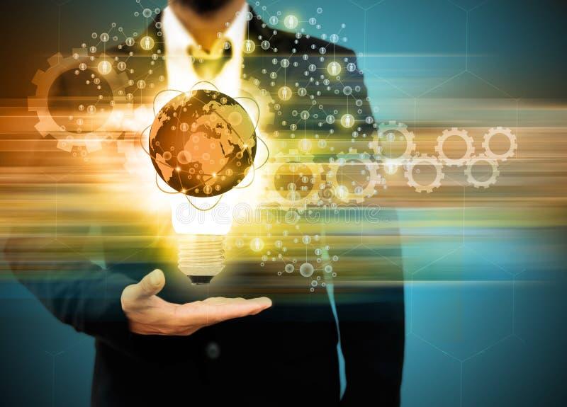 Business man holding light bulb Social Network stock photos