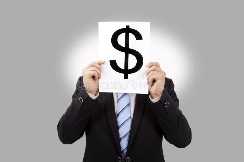 Business man holding money mark