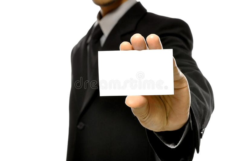 Download Business Man Holding Name Card Stock Photo - Image: 26593810