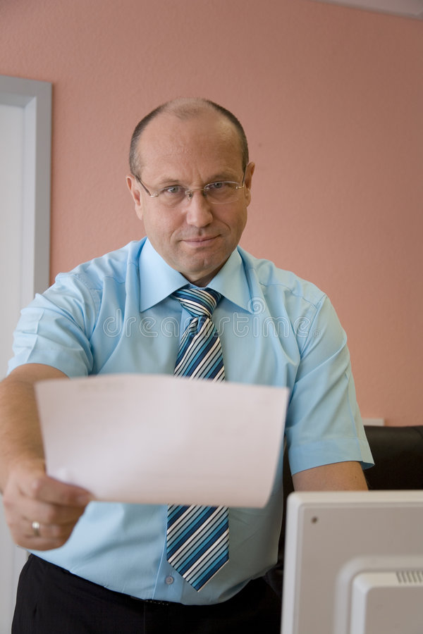 Business man holding paper royalty free stock images