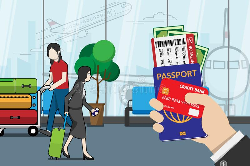 Business man holding passport, boarding pass , pocket money and credit card, prepare for travel with luggage and airport terminal royalty free illustration