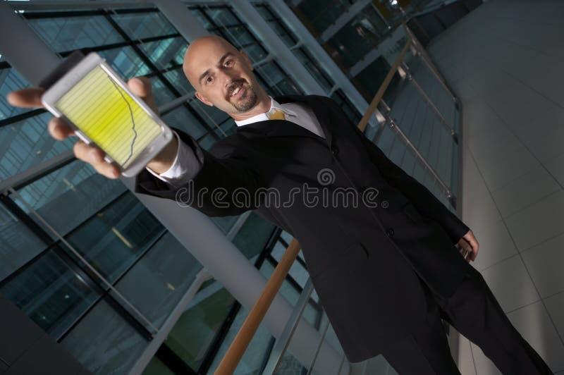 Business Man Holding PDA Stock Photos