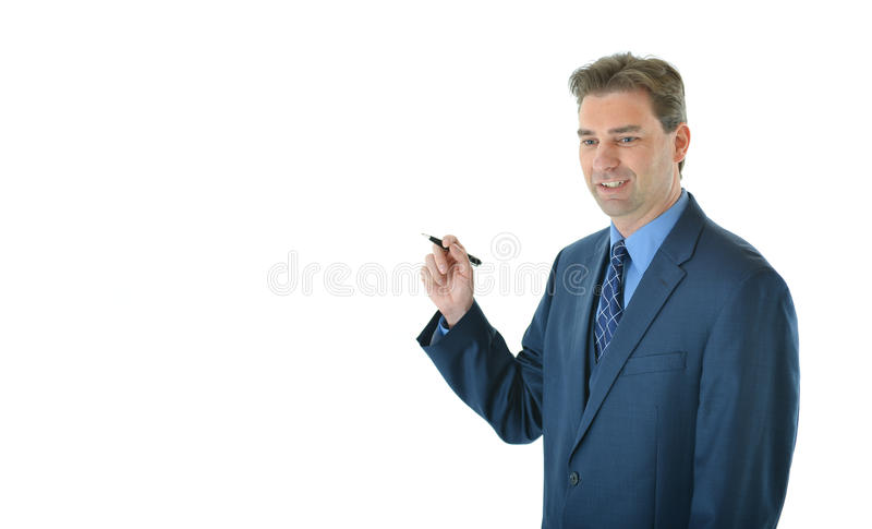 Download Business man holding a pen stock photo. Image of happy - 83718216