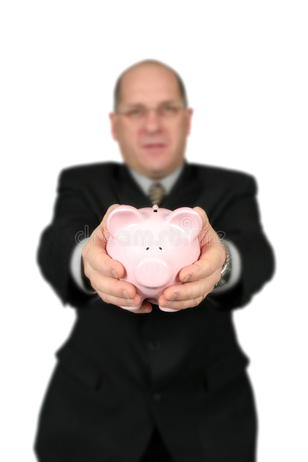 Business Man Holding Piggy Bank royalty free stock photo