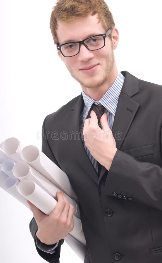 Business man holding projects. royalty free stock photography