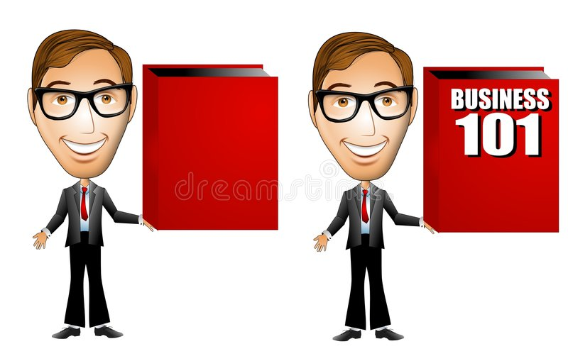 Business Man Holding Red Book. An illustration featuring a businessman holding a large red book - one blank for custom text and the other with Business 101 on vector illustration