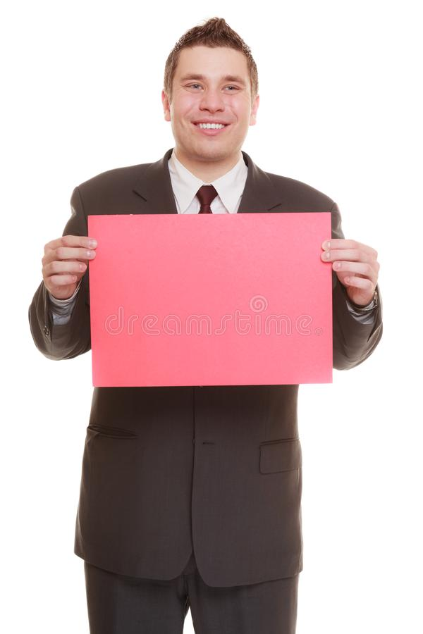 Business man holding sign red blank. Happy man holding sign red blank copy space for text isolated on white background stock photography