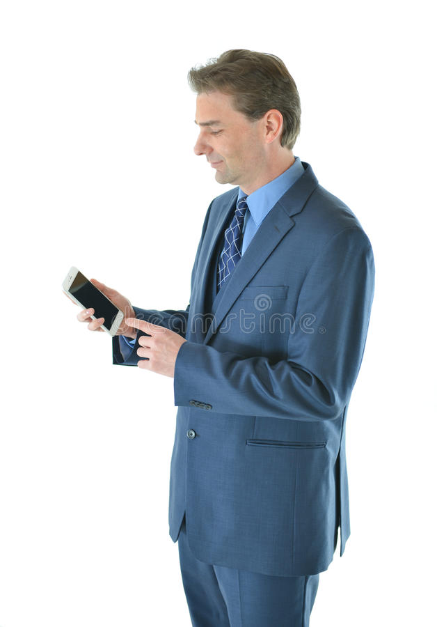 Download Business Man Holding A Smart Phone Stock Photo - Image: 83719225