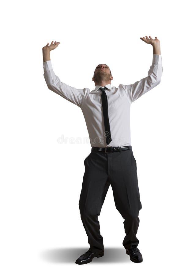 Business man holding something heavy stock image