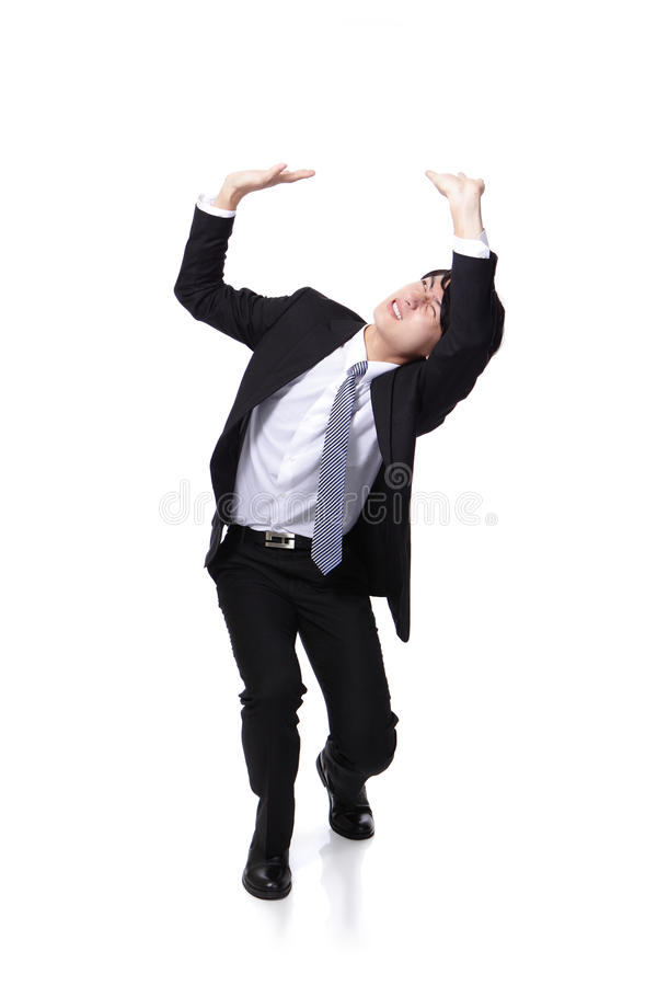 Download Business Man Holding Something Heavy Above Head Stock Image - Image: 28407333