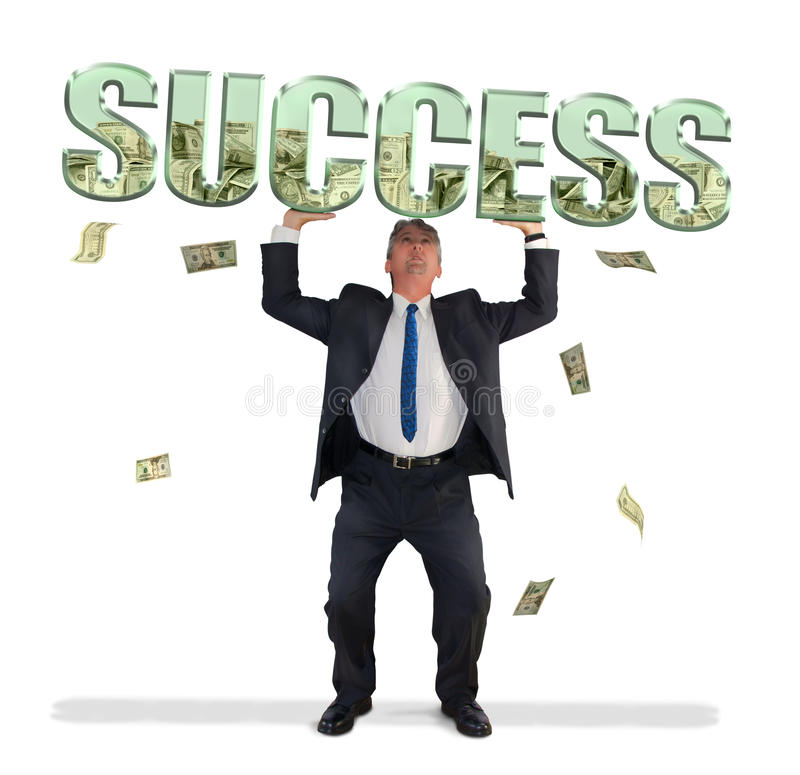 Download Business Man Holding SUCCESS Filled With Money Stock Photo - Image of broker, bills: 36440454