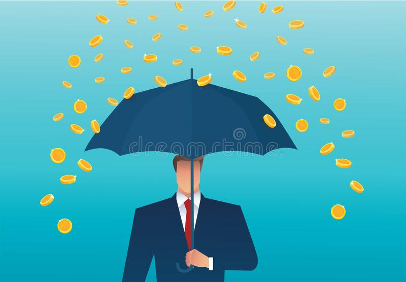 Business man holding an umbrella, money falling from the sky. concept of success. vector illustration stock illustration