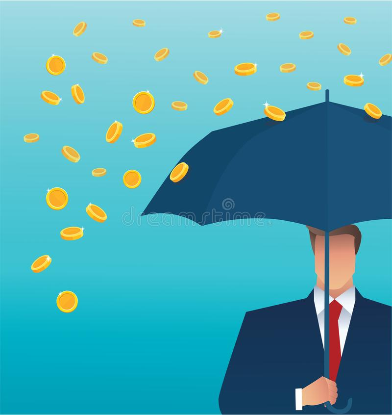 Business man holding an umbrella, money falling from the sky. concept of success. vector illustration royalty free illustration