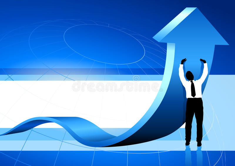 Business Man holding up arrow blue background stock illustration