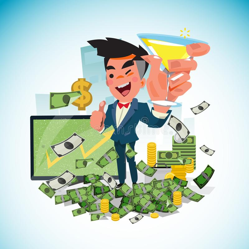 Free Business Man Holding Wine And Thumbs Up With A Lot Of Money. Royalty Free Stock Images - 101610869