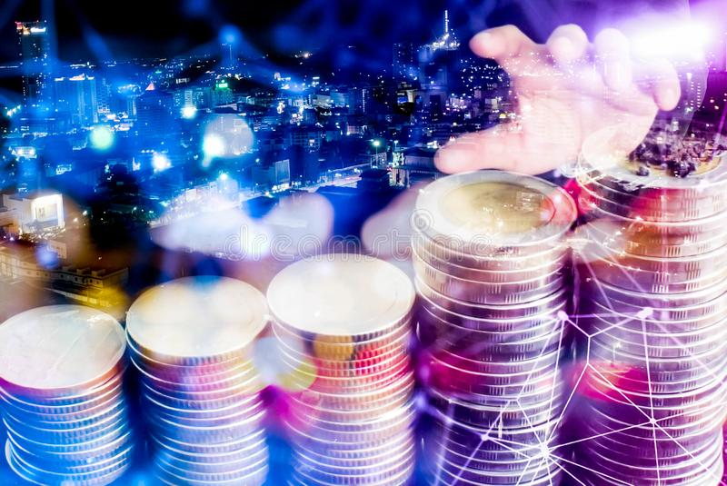 Business man with hundred dollar  on Night city,Hand, businessman and money in the city.  stock photography