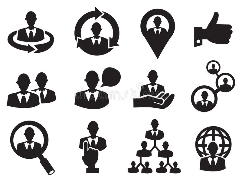 Business Man Icon Set For Human Resource Stock Vector Illustration