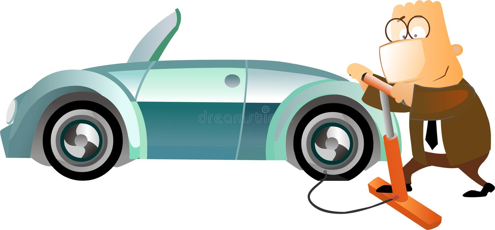 Download Business Man Inflating A Tyre Stock Illustration - Illustration: 14365841