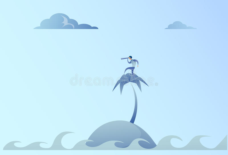 Business Man On Island Looking With Binocular On Future Opportunity Businessman Leader Success Concept. Vector Illustration royalty free illustration
