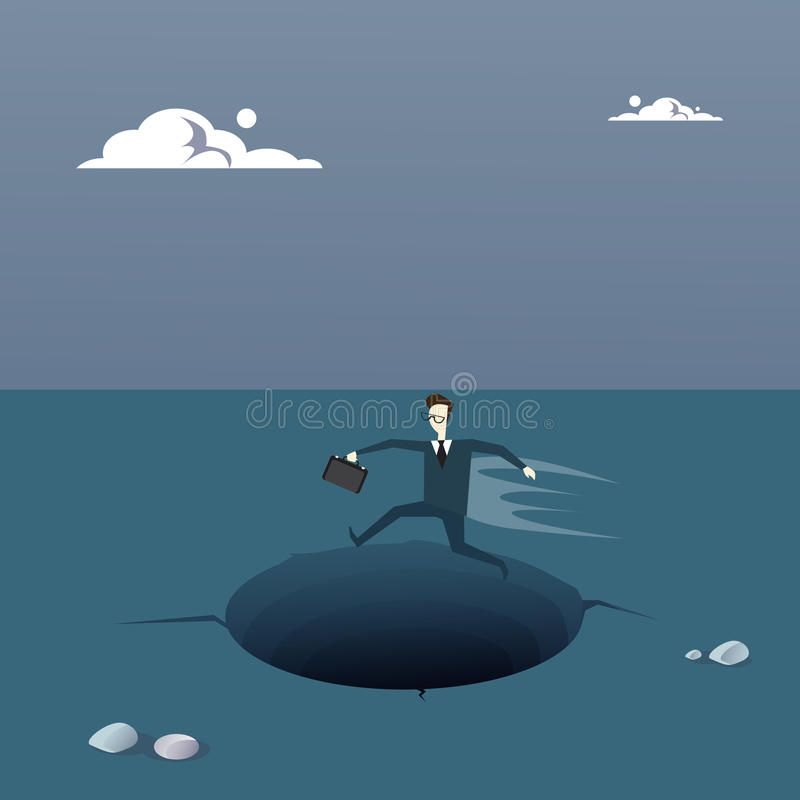 Business Man On Island In Sea Water Need Help Concept Financial Crisis. Flat Vector Illustration royalty free illustration