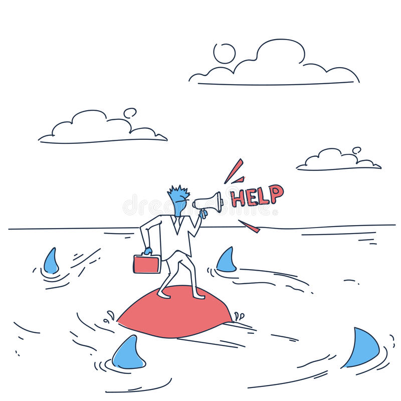 Business Man On Island In Sea Water With Sharks Around Asking Help Concept Financial Crisis. Doodle Vector Illustration royalty free illustration