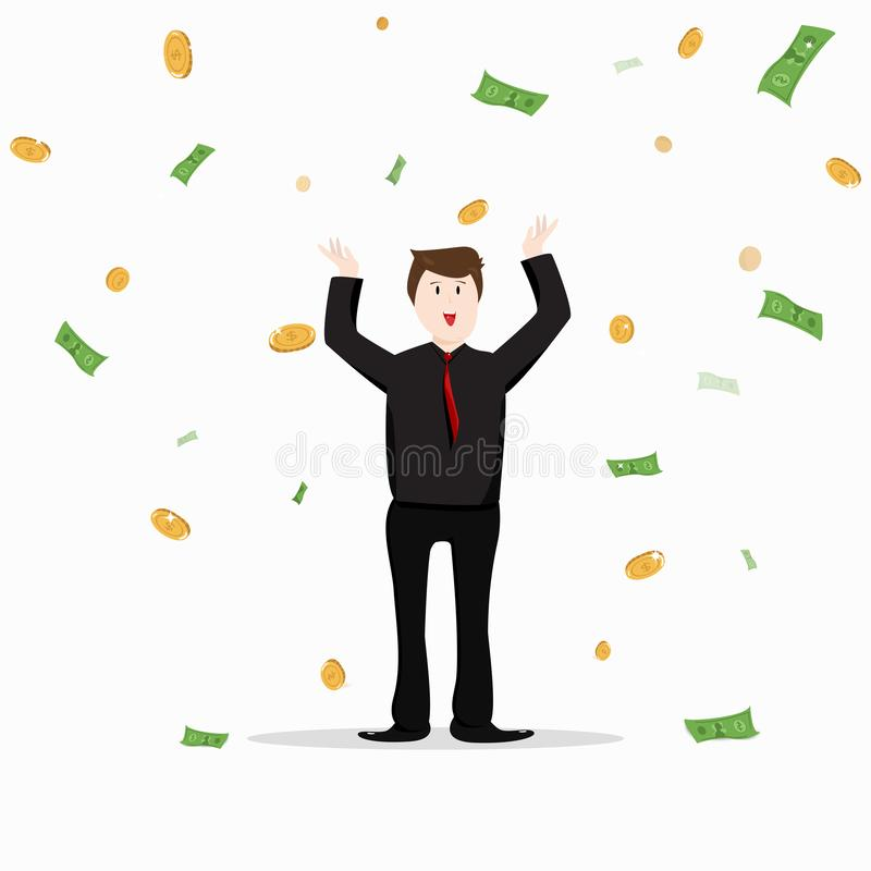 Business man, jackpot and bonus celebration office people, rich. Money falling, character cartoon collection flat design vector isolated on white background royalty free illustration