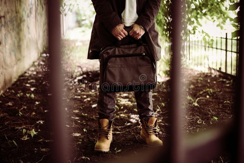 Business man in jail. Human body part. Slave of job. Business man in jail. Human body part stock photo