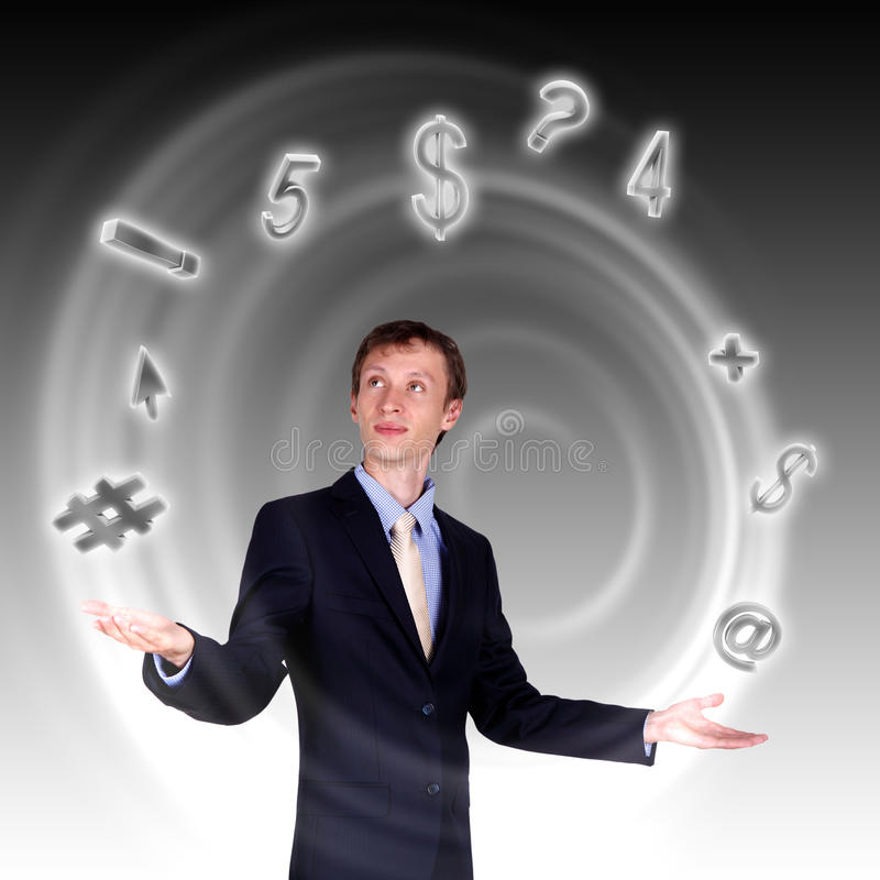 Download Business Man Juggling With Numbers And Symbols Stock Photo - Image: 20815824