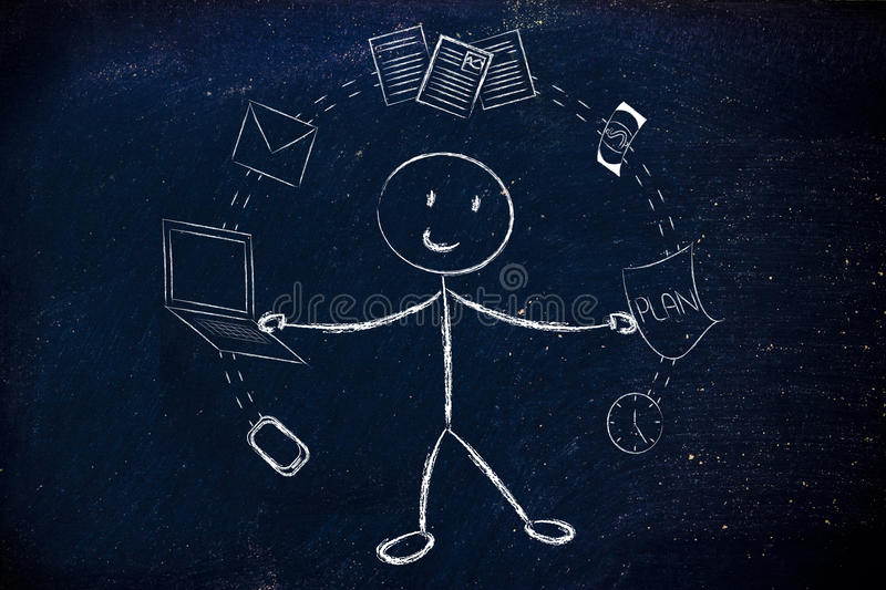 business man juggling with office objects, concept of productivity royalty free stock images