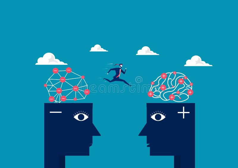 Business man jump between head negative to head positive thinking concept stock illustration