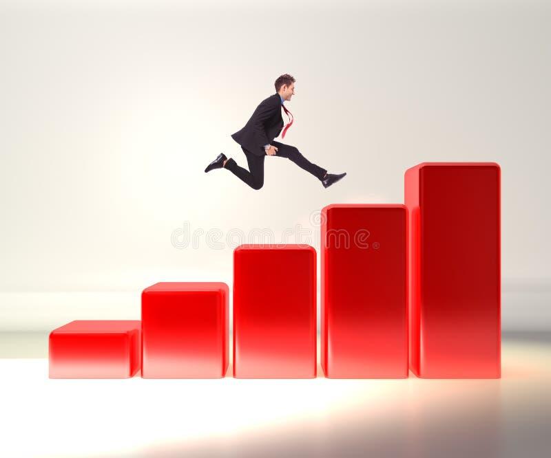 Business man jumping on a 3d graph. Winning business man jumping o top of a 3d graph stock photography