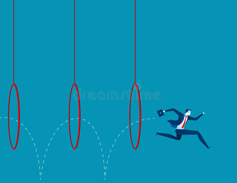 Business man jumping through hoops royalty free illustration