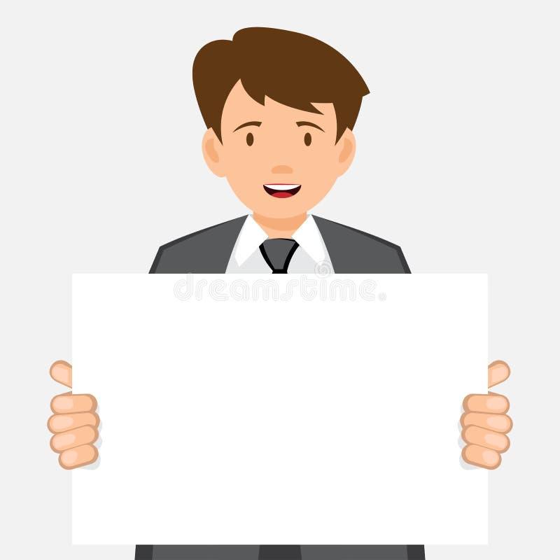 Business man keeps big white card. Vector sign board royalty free illustration