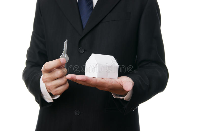 Business man with the key in the hand stock images