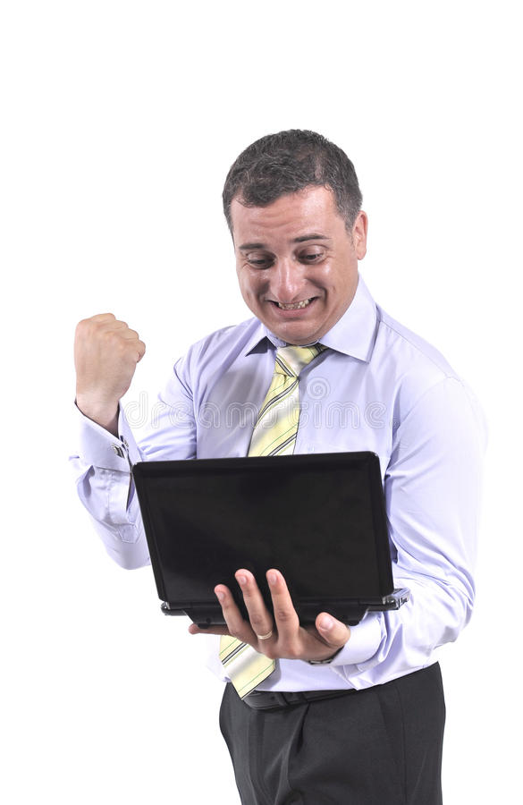 Download Business man with a laptop stock photo. Image of half - 20444522