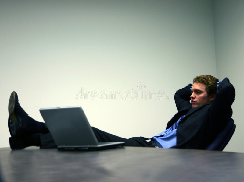 Business man with laptop 3 royalty free stock image