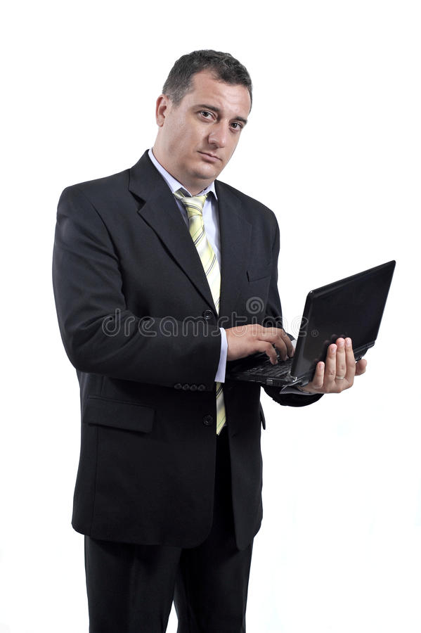 Download Business Man With A Laptop In His Hands Stock Photo - Image of executive, blue: 20430792