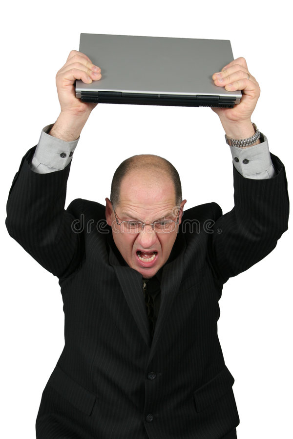 Business Man with Laptop over head - Mad royalty free stock photo