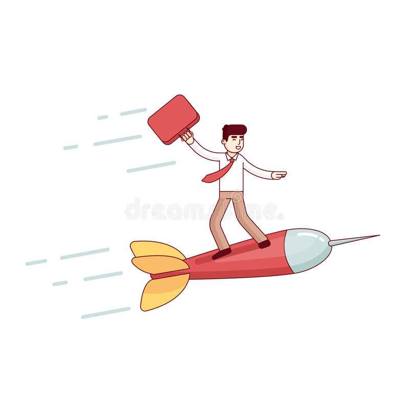 Business man leader flying fast to his success stock illustration