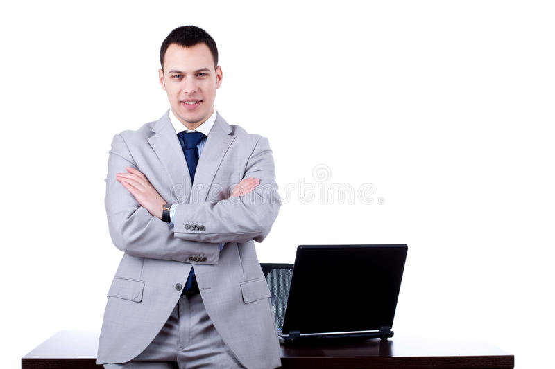 Download Business Man Leaning On Office Desk Stock Image - Image: 18360629