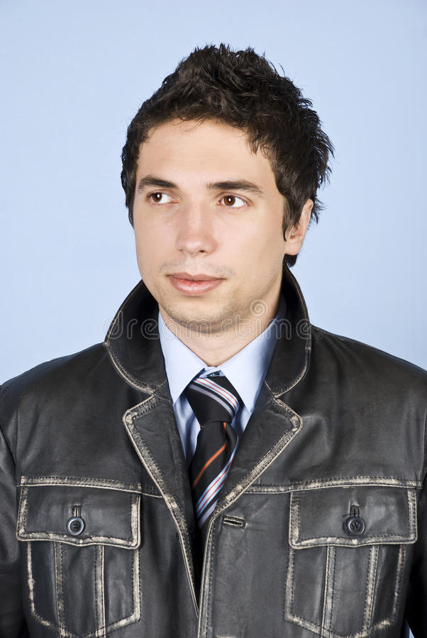 Download Business  Man In Leather Jacket Stock Photo - Image: 12493900