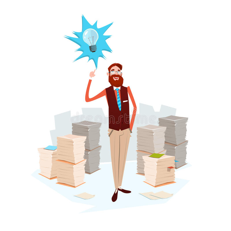 Business Man Light Bulb New Idea Stacked Paper Document Paperwork royalty free illustration