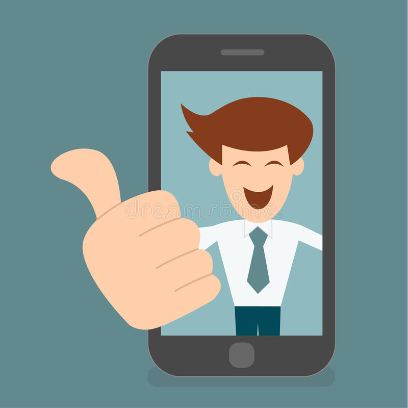Business man like, thumbs up concept of digital life vector illustration