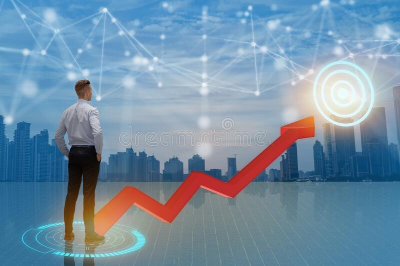 Business man look way to growth path to the target dart with business wire frame including 5g, machine ,deep learning, digital twi stock photos