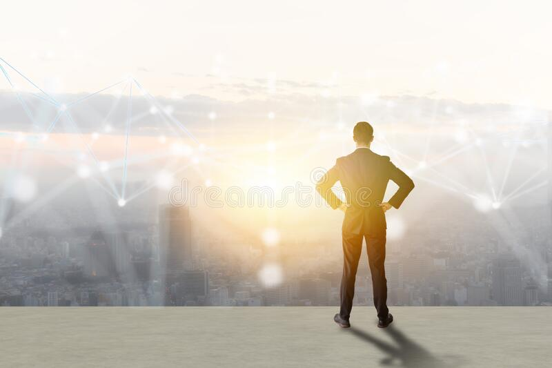 Business man look way to growth path to the target goal with business wire frame including 5g, machine ,deep learning, digital twi stock images