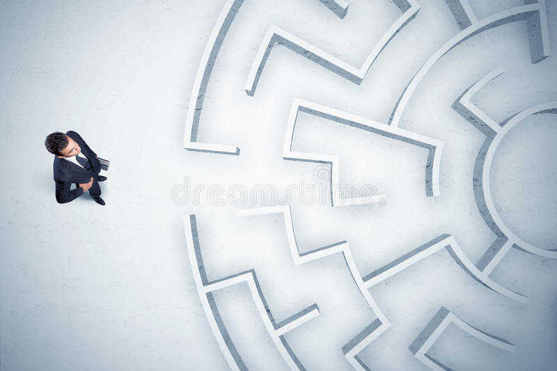 Download Business Man Looking At Circular Maze With Nowhere To Go Stock Image - Image: 82504527